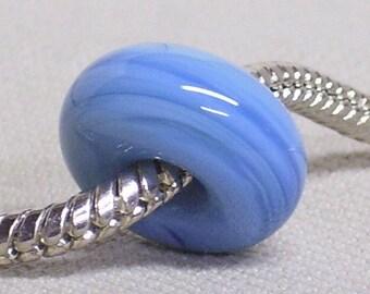 European Style Large Hole Charm Bead Handmade Lampwork Bead Light Blue Swirl