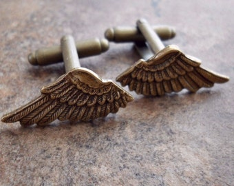 Wing Cuff Links, Antiqued Brass Cuff Links, Brass Wings Cuff Links, men, cuff links, brass cuff links, brass wings, bronze wings