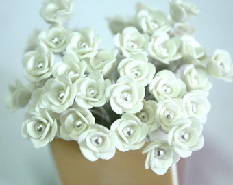 Handmade Miniature Roses Polymer Clay Beads Supplies 12 pcs
