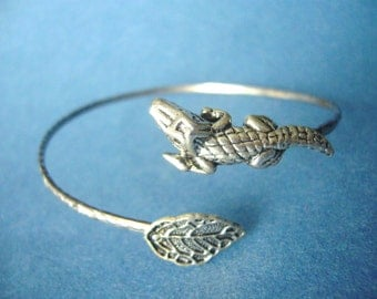 Alligator Crocodile Bracelet wrap, animal bracelet, charm bracelet, bangle