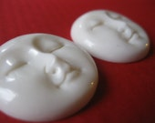 TWO hand carved bone faces, beads, pendants, MOON LOVE with holes at the top