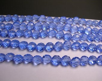 Crystal faceted oval round - 50pcs -  9 mm - AA quality - sky blue  - 18 inch strand