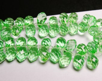 Faceted teardrop crystal briolette beads - 24 pcs - 12mm by 8mm - top sideways drill - green