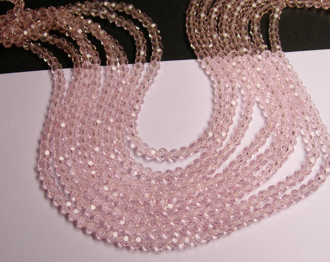 Crystal - round faceted 4mm beads - 98 beads - AA quality - pink   - Full strand