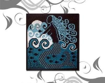 PDF Emailed Mermaid Nautical Beach Cross Stitch Pattern Sampler Design 6 *