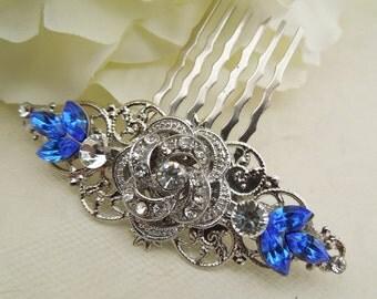 Bridal Rhinestone Hair Comb, Wedding Rhinestone Hair Comb, Rose Rhinestone Hair Comb, bridal hair comb, Something Blue Hair Comb, ROSELANI