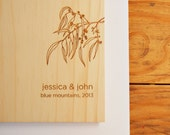 australian wood guest book custom wedding guest book personalized bridal engagement rustic modern // eucalyptus branch
