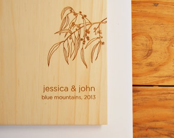 Wedding Guest Book. Australian Wood. Wedding Gift. Engagement Present | eucalyptus branch