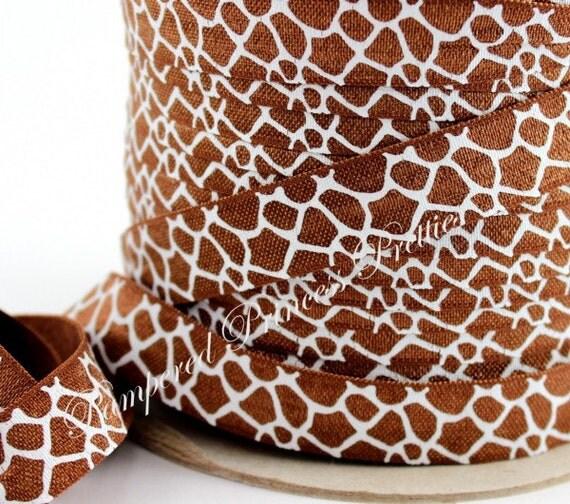 "5yds-Giraffe Print Satin Elastic-5/8"""