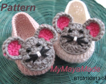 Crochet Pattern - Cute Mouse Crochet Baby Booties PDF Pattern - BT03192013-04 - Instant Download
