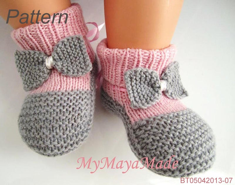 Knitting Pattern Gray Bow Pinky Baby Booties & Socks PDF