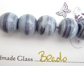 Blueberry- Handmade Lampwork Beads - Set of 5  - FHFTeam