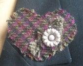 Harris Tweed Fabric Heart shaped Brooch Purple and Black. Scottish Tweed. Scottish Bridesmaid gift. Hogmanay, Burns night