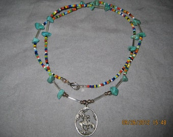 Beaded Horse Pendant Necklace and Bracelet Set