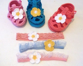 Crochet Baby Booties and headband-Bamboo Crochet Baby Girl Sandals-Baby Flower Sandals and hairband-Crocheted Sandal-Your choice of color