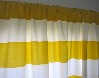 2 Curtains, Drapes, Window Curtains, Set of 2 Designer Gold and Off White Horizontal Stripe Curtain Panels 50 x 63, 72, 84, 96, 108