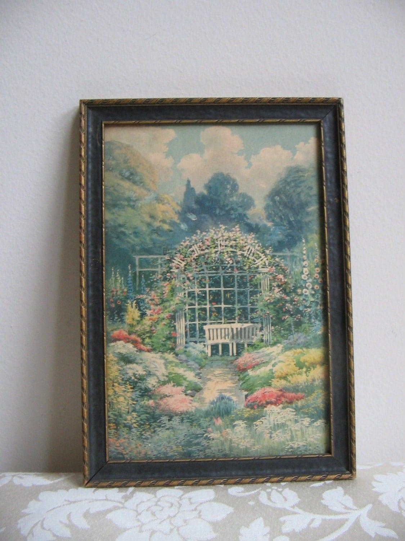 Vintage Garden Wall Art Print Flowers Trellis Arbor Bench