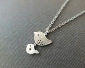 Mother and Baby Necklace, Mother and Daughter Necklace - Also Available in Gold, Mama Bird Baby Bird Necklace, Baby Shower Gift Jewelry
