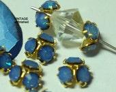Vintage Swarovski White Opal Sky Blue 8mm Half Bead Balls (6)