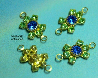 Vintage Swarovski Sapphire and Peridot Rhinestone Connectors 15mm  (7)
