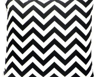 Black Chevron Zig Zag Decorative Pillow Cover - Available In 3 Sizes