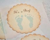 Blue Footprint Stickers It's a Boy Baby Boy Shower Stickers Birthday Envelope Seals Set of 10