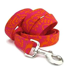 Custom Dog Leash - Tangerine and Raspberry - 6 Foot Length