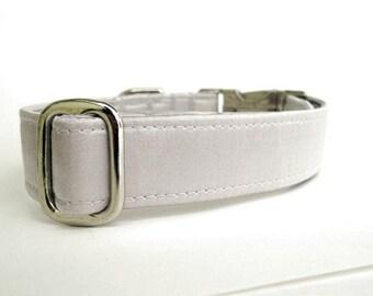 Satin Wedding Dog Collar - Silver