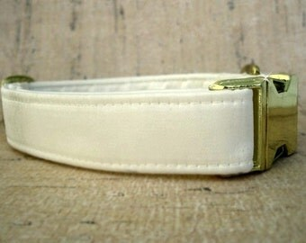 Ivory Satin Dog Collar with Brass Hardware
