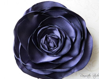 Wedding Hair Flower, Dark Purple Satin Wedding Hair Flower, Bridal Accessory