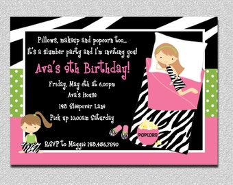 Pajama Party Birthday Invitations Sleepover Birthday Invitations Printable