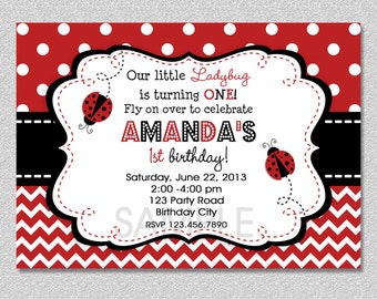 Ladybug Birthday Invitation Ladybug Birthday Party Invitation Printable