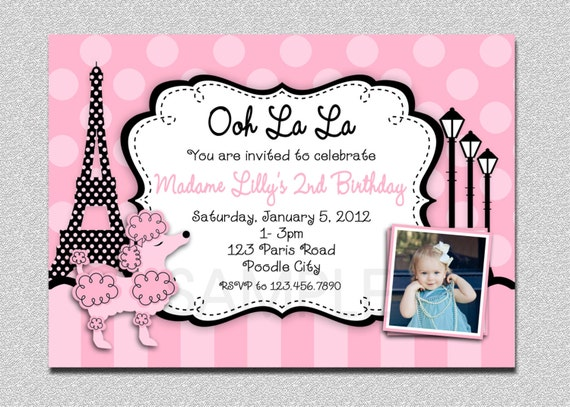 Paris Themed Birthday Invitations could be nice ideas for your invitation template