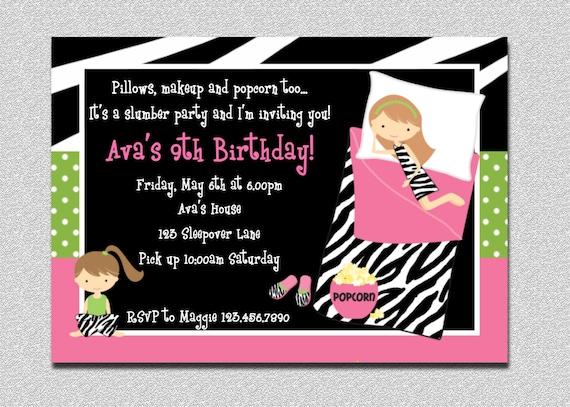 Pajama Party Birthday Invitations Sleepover Birthday Invitations Printable