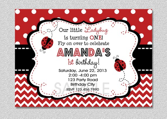 Ladybug Birthday Invitation Red Ladybug Invitation Ladybug – Ladybug Invitations 1st Birthday