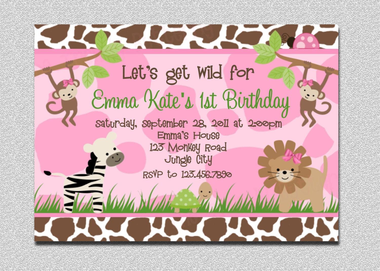 Safari Birthday Invitation Jungle Birthday Invitation Safari - Birthday party invitations jungle