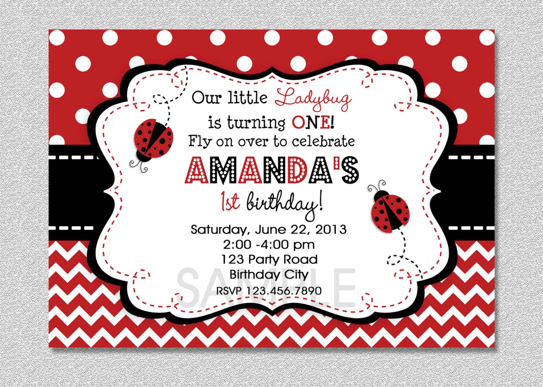 Ladybug Birthday Invitation Red Ladybug Invitation Ladybug