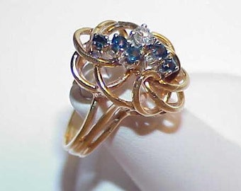 10k 5 Blue Sapphire .15ct Diamond Weave Ring Size 7.5 Yellow Gold Vintage Mid Century