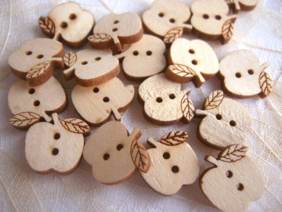 Wholesale 100 pcs Natural Colour Wooden Buttons 2 Hole wood buttons 14mm JC-23