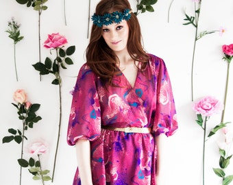 Gina, French Vintage, 1970s Pink Floral Mini Dress, from Paris