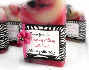 10 Vegan SOAP Favors ~ Bridal ~ Wedding ~ Scented in Wild Raspberry  and Zebra Labels or Your Own Custom Designs ~ Handmade in 7 days