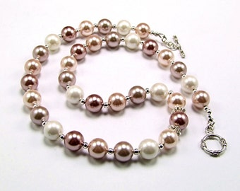 Lustrous Pink Shell Pearl Sterling Necklace - N626