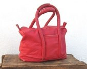 Vintage Rugged Distressed Red Leather Handbag Tote