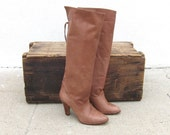 Vintage Brown Leather Back Laced  Boho Boots Size 6.5M
