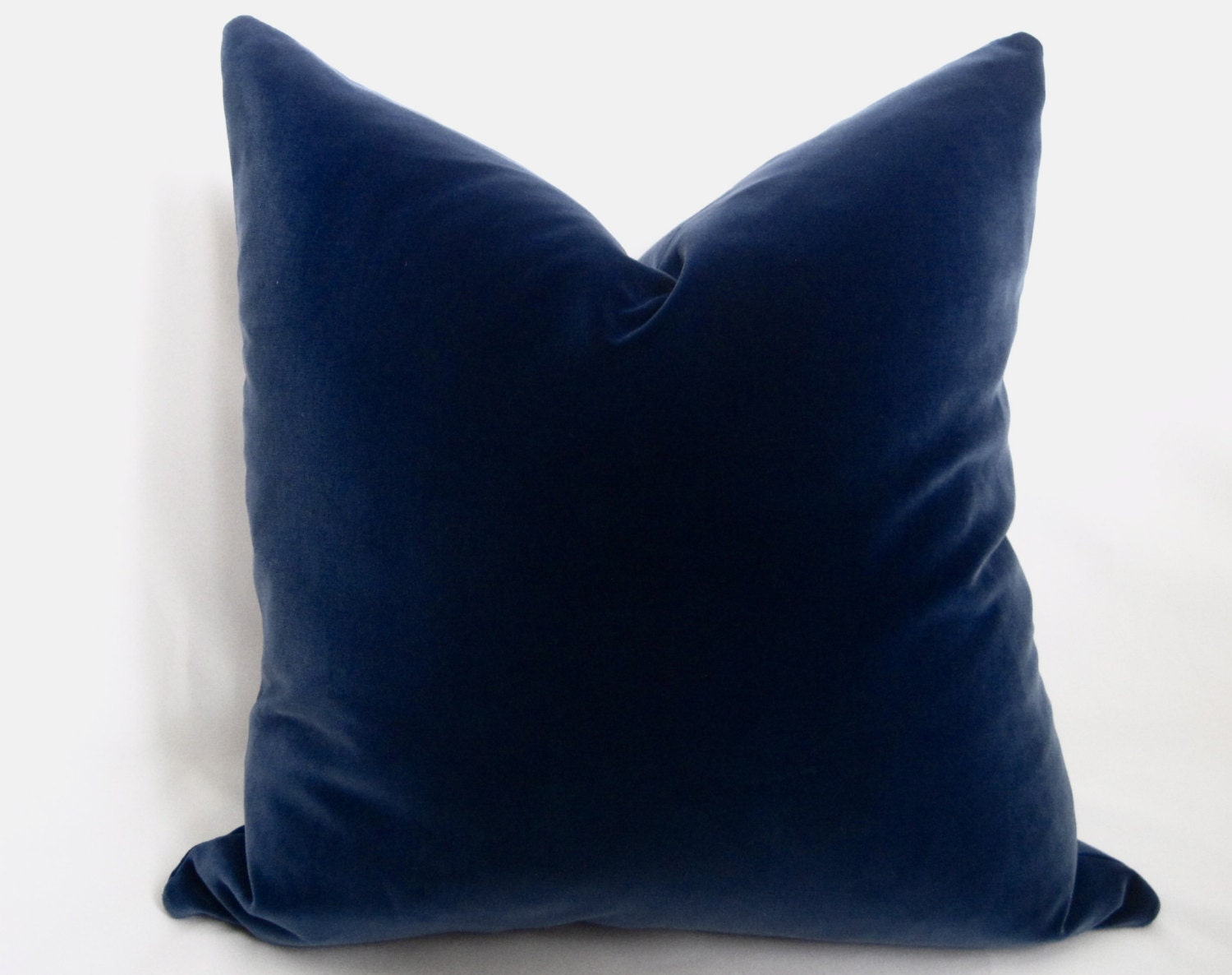 Decorative Pillows Navy : Cotton Velvet Pillow Cover Midnight Navy Navy by WillaSkyeHome