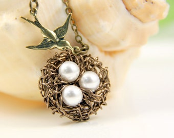 Flying home-Birds Nest Necklace-White Swarovski Pearls-Brass Swallow-Bridesmaid gift-Family Necklace-Love-Everyday Wear