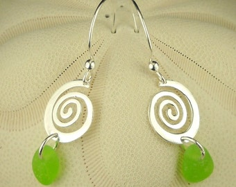 Sterling Silver Spirals GENUINE Rare Lime Green Sea Glass Earrings Eco Friendly