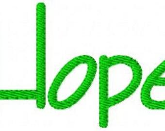 Hope // Machine Embroidery Design // Joyful Stitches