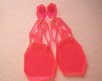 Neon Pink Geometric Earrings