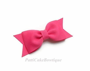 Girls Hot Pink Bow, Hot Pink Hair Clip, Hairbow Clip, Tuxedo Bow, Hot Pink School Bow, No Slip Hair Clip, Toddler and Baby Bow, 41